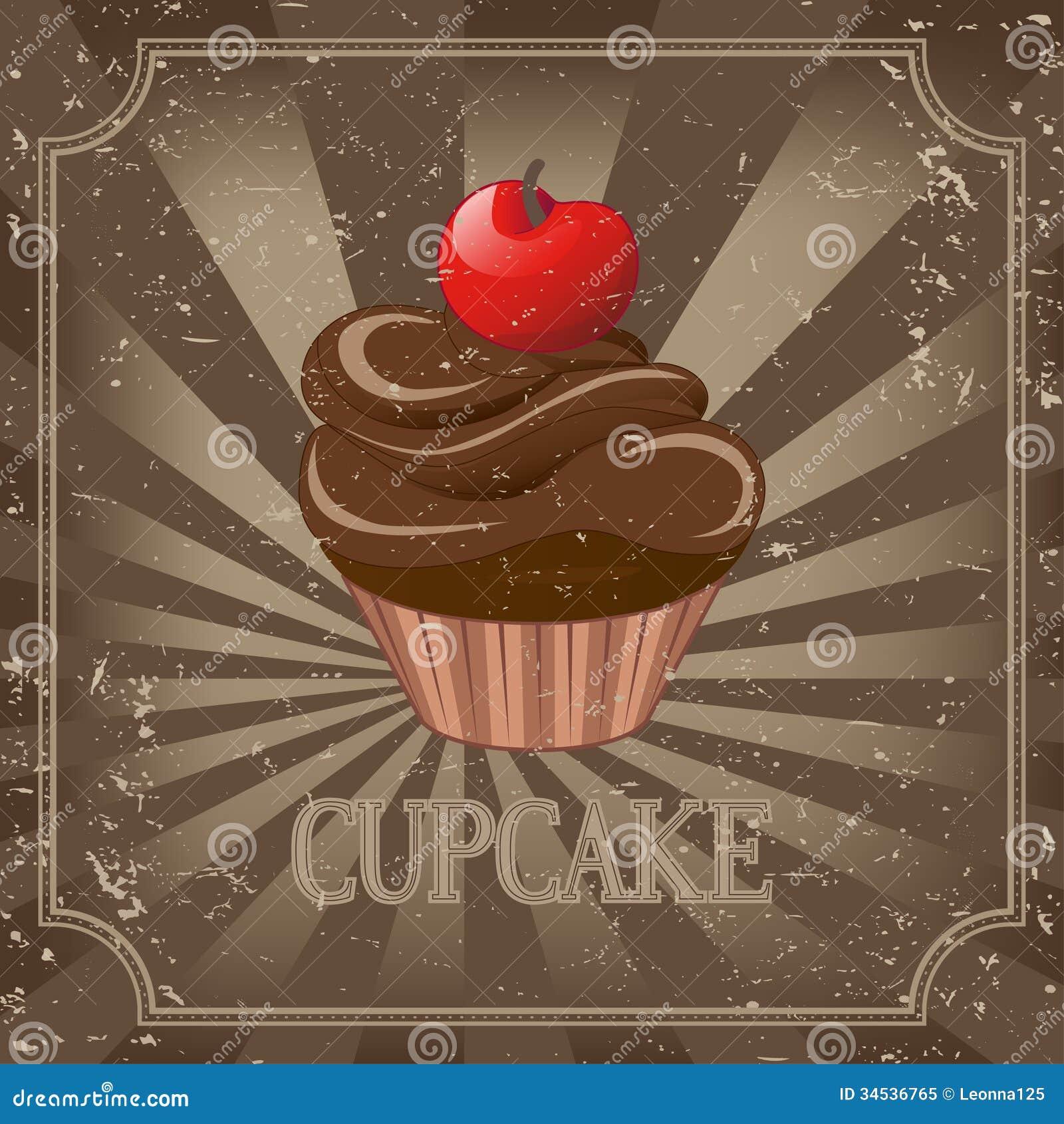 Retro Beach Illustration Royalty Free Stock Photo: Cupcake On Vintage Background
