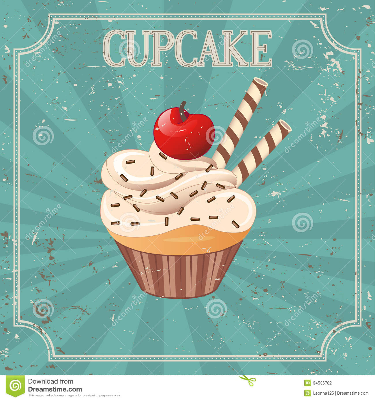 Classic Retro Illustration: Cupcake On Vintage Background