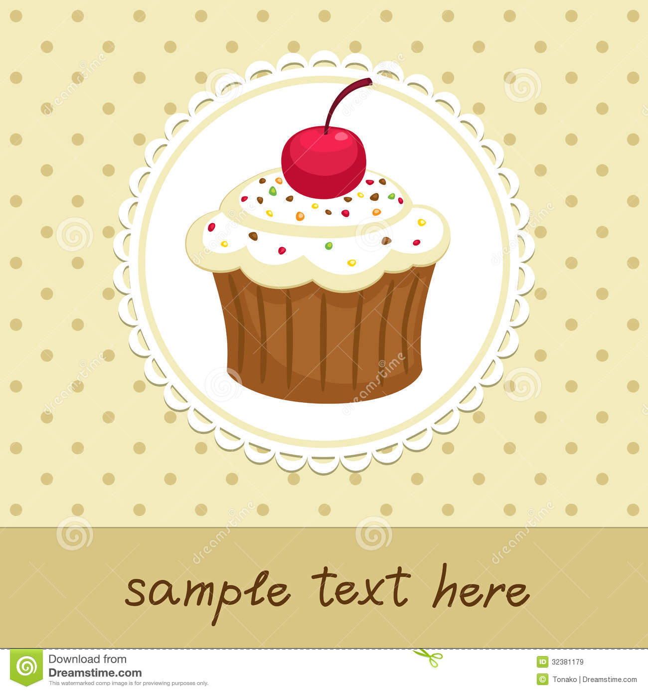 Vintage background with cupcake. Invitation template. Vector ...