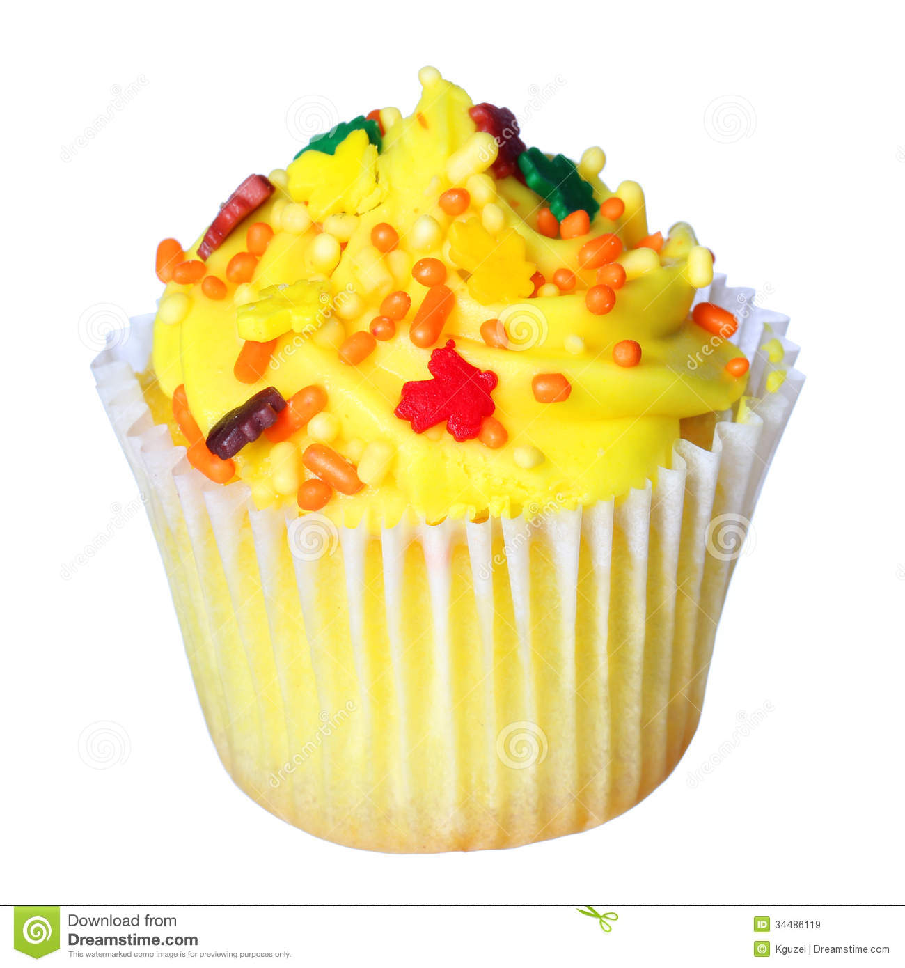 Cupcake With Yellow Frosting And Colored Sprinkles