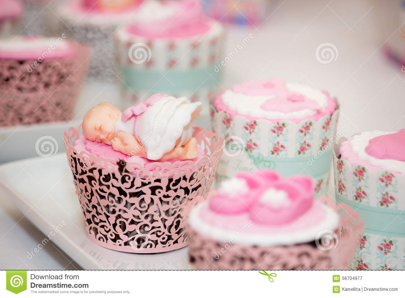 Cupcakes For A Baby Shower Royalty Free Stock Photo