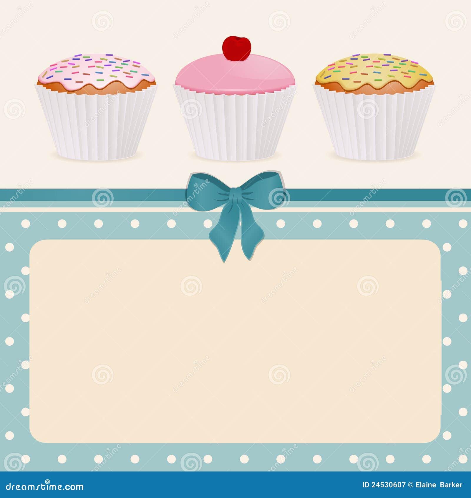 cupcakes on blue polka dot background stock illustration