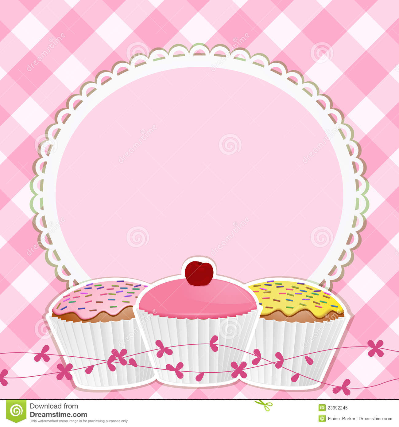Cupcakes And Border On Pink Gingham Royalty Free Stock Photo - Image ...