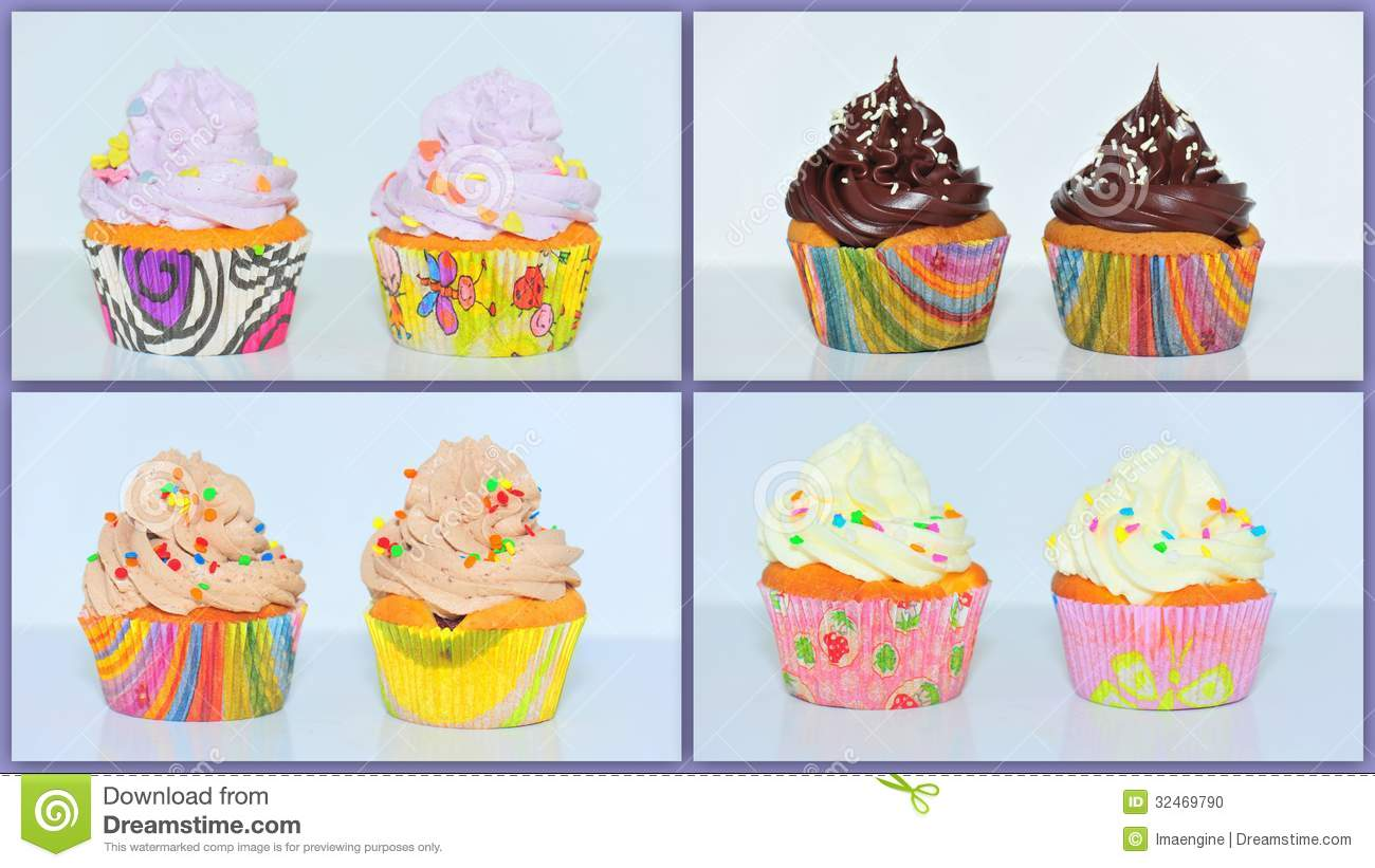 Cupcakes Collage Stock Photo Image Of Fattening Brown