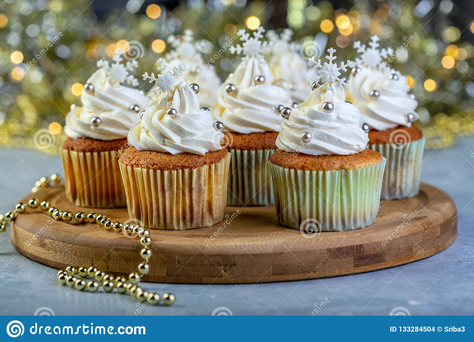 Cupcakes With Cream And Christmas Decorations Stock Photo Image
