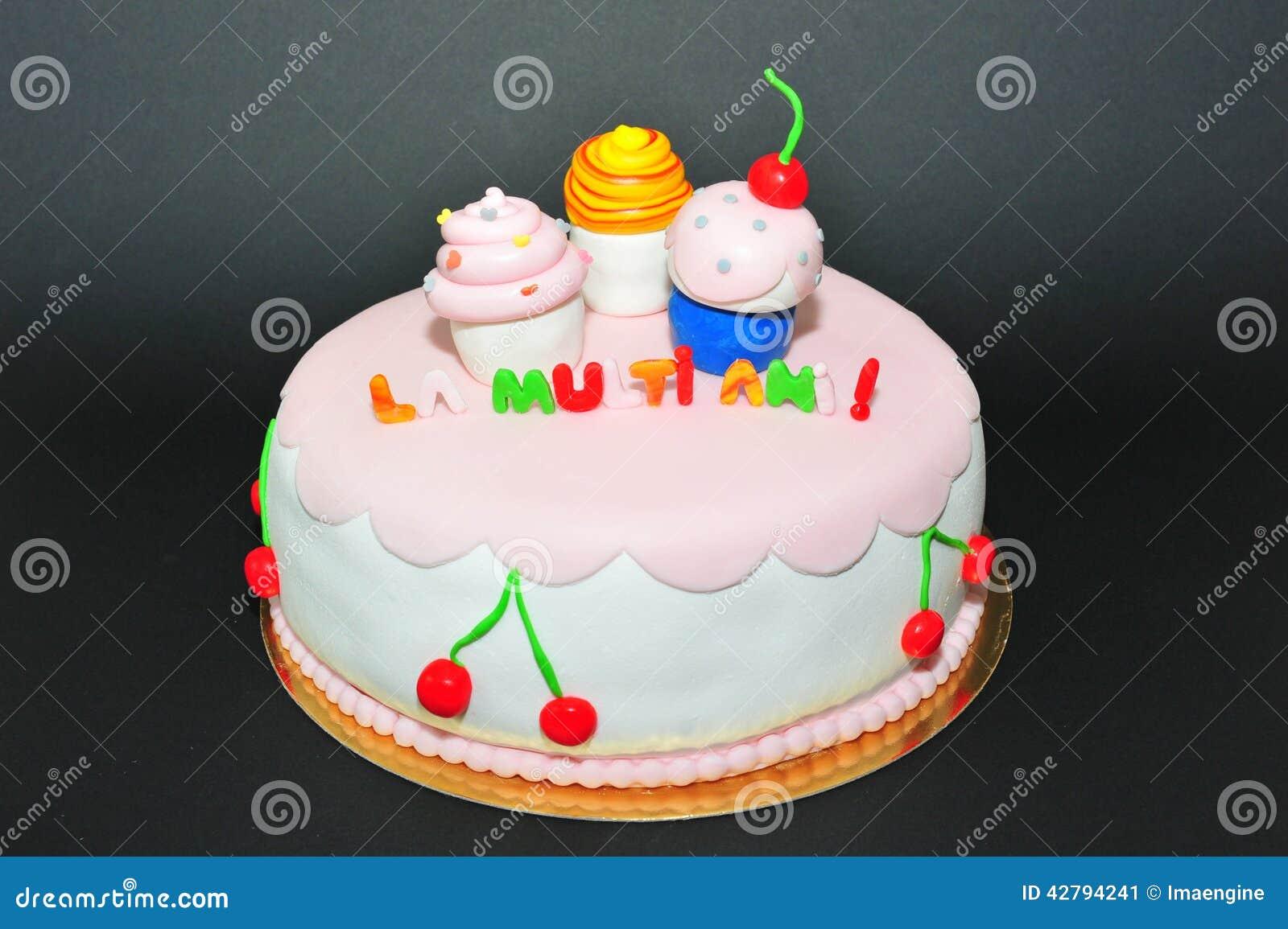 Cupcakes Figurines Fondant Birthday Cake Stock Image Image Of