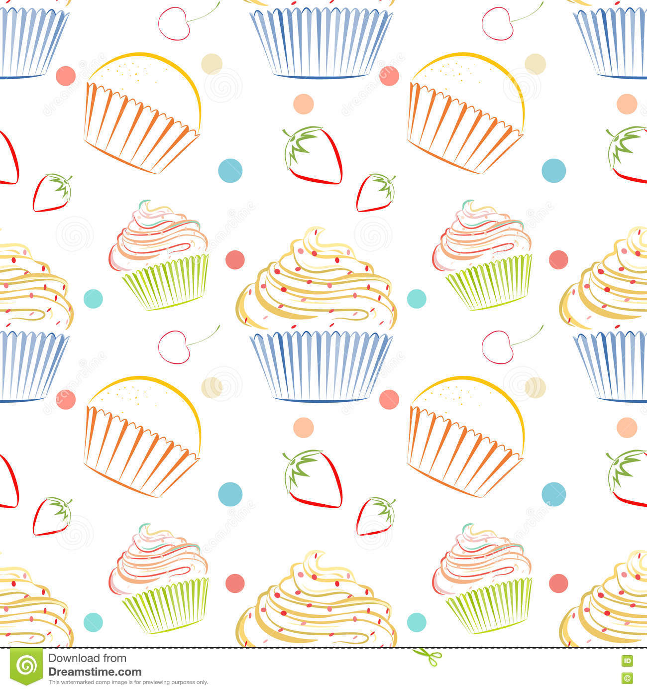 Line Drawing Backgrounds : Cupcakes food pattern seamless vector background with