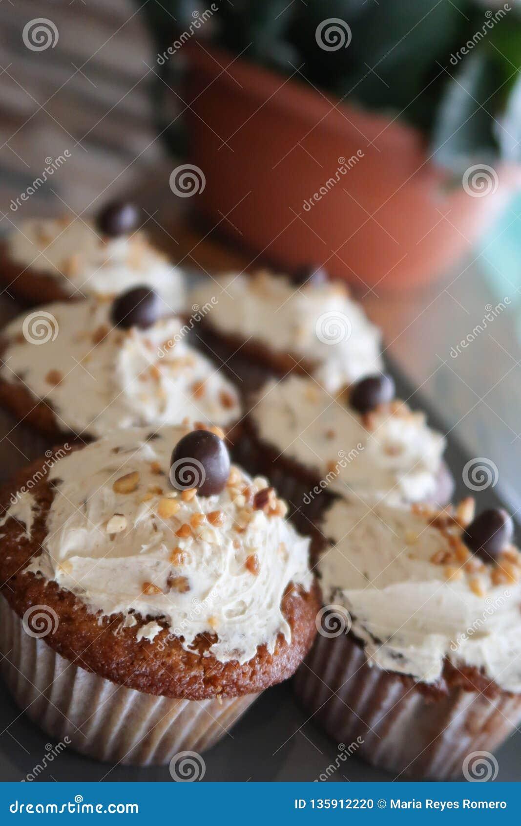 Cupcakes in het venster