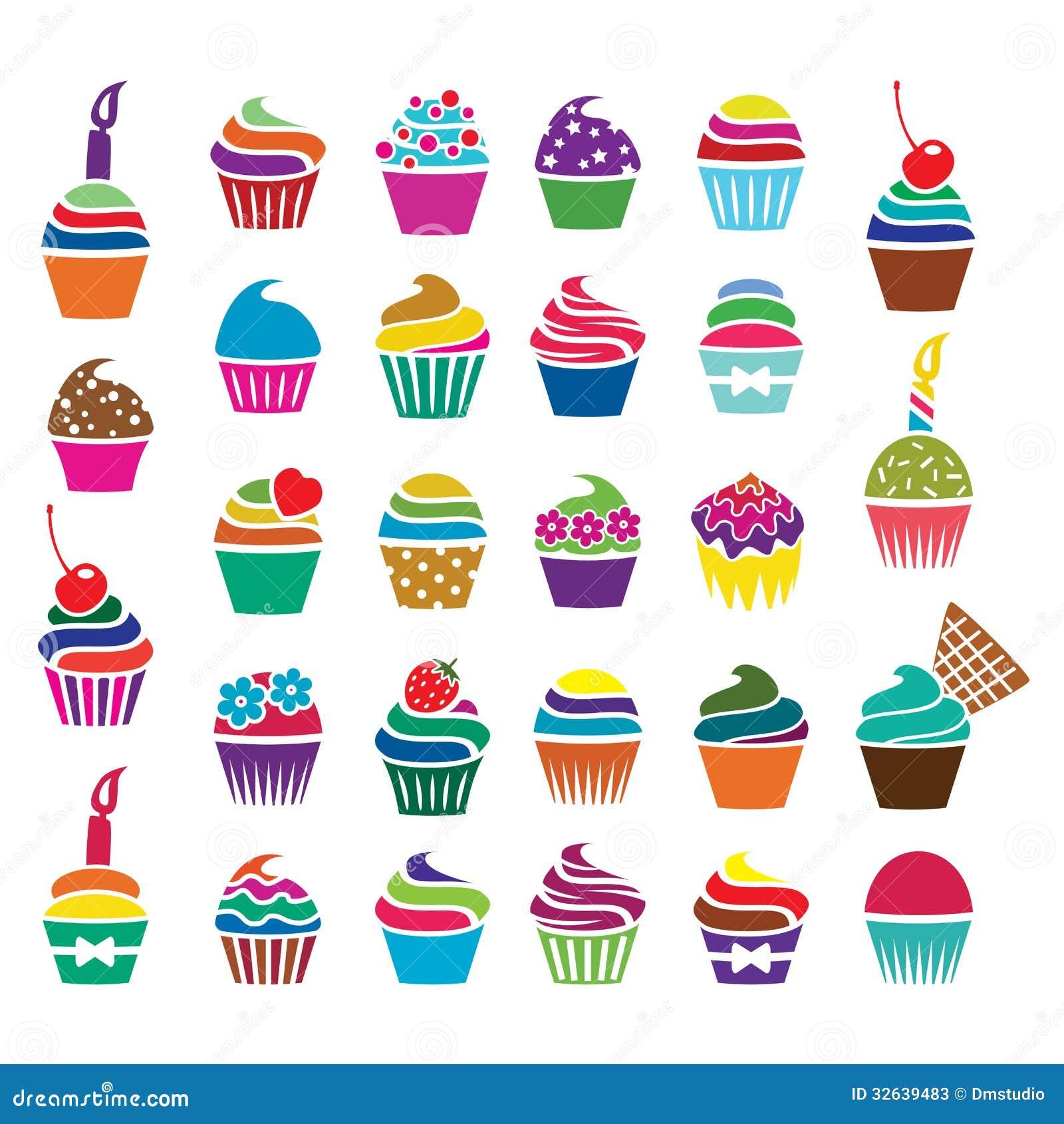 Vector Cupcakes Icons Stock Photos Image 32639483