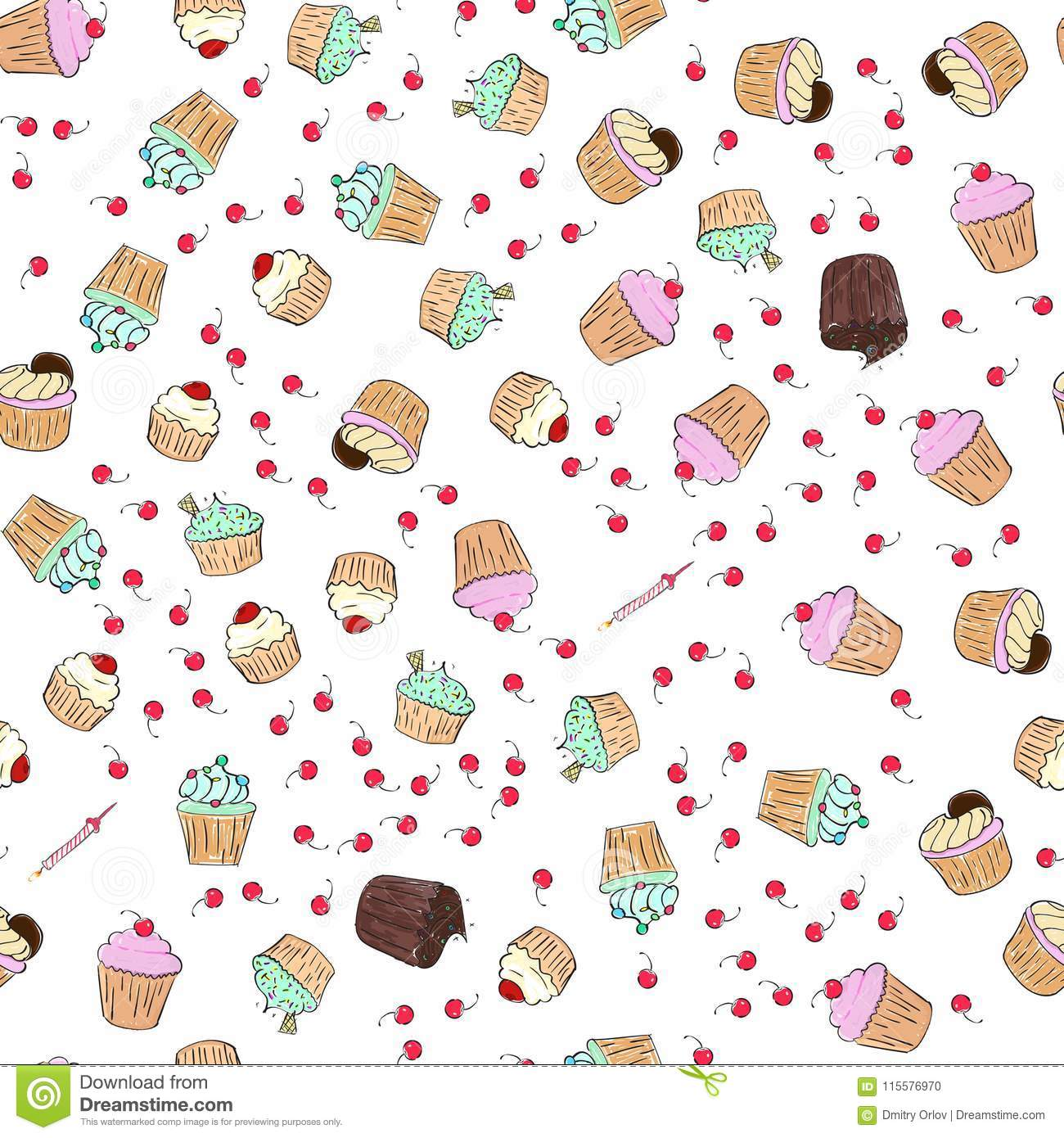 Cupcakes pattern illustration. Seamless print with pastry set. Vector bakery background.Hand draw style