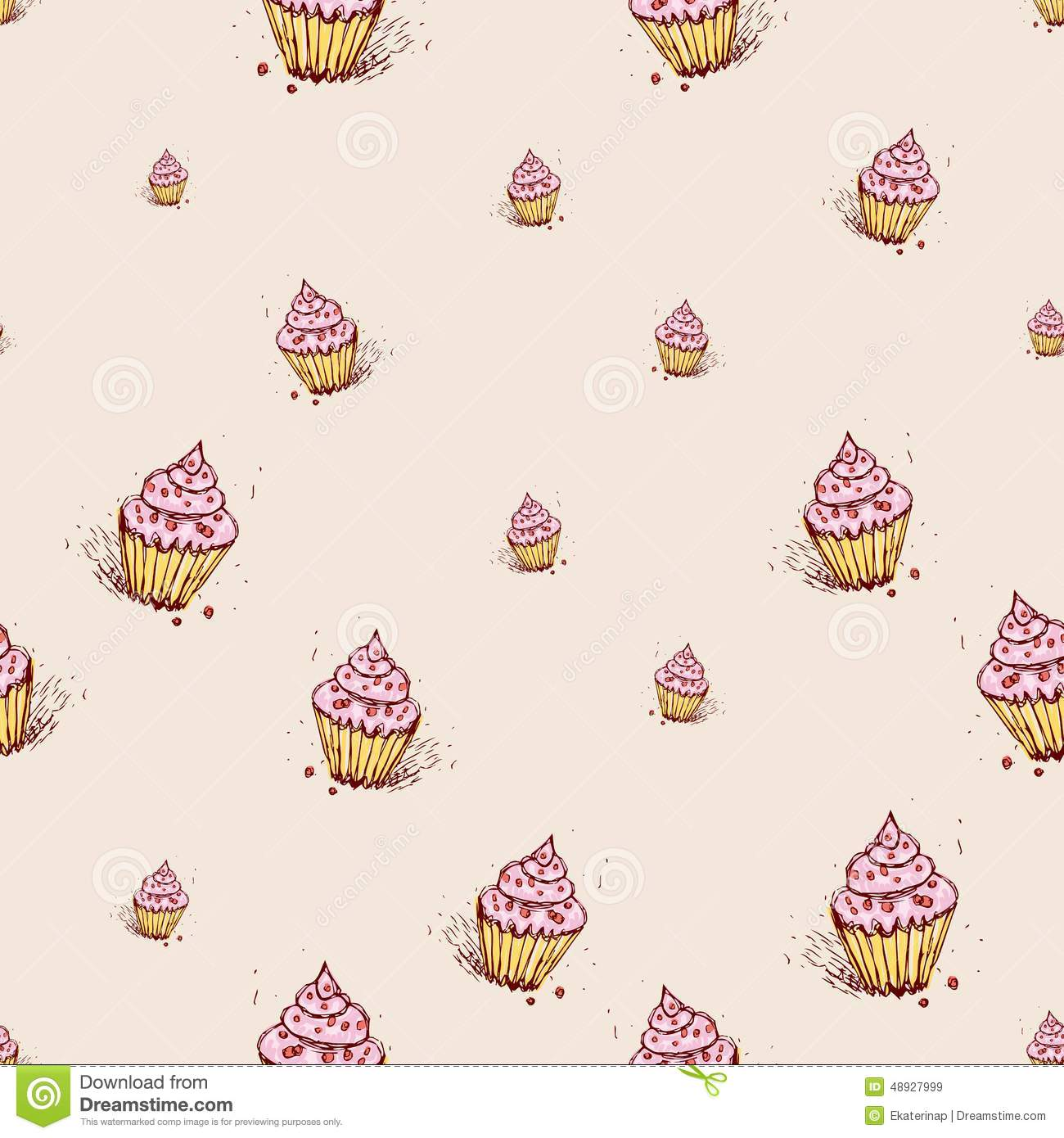 cupcakes with pink cream hand drawn sketch on pink. Black Bedroom Furniture Sets. Home Design Ideas