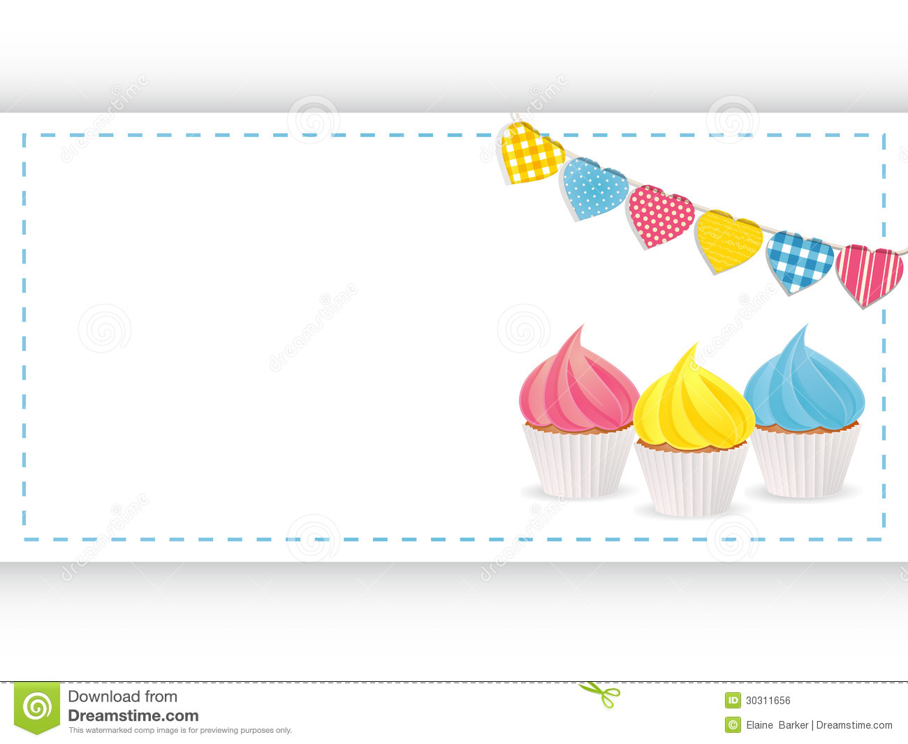Cupcake Background Panel And Bunting Stock Vector