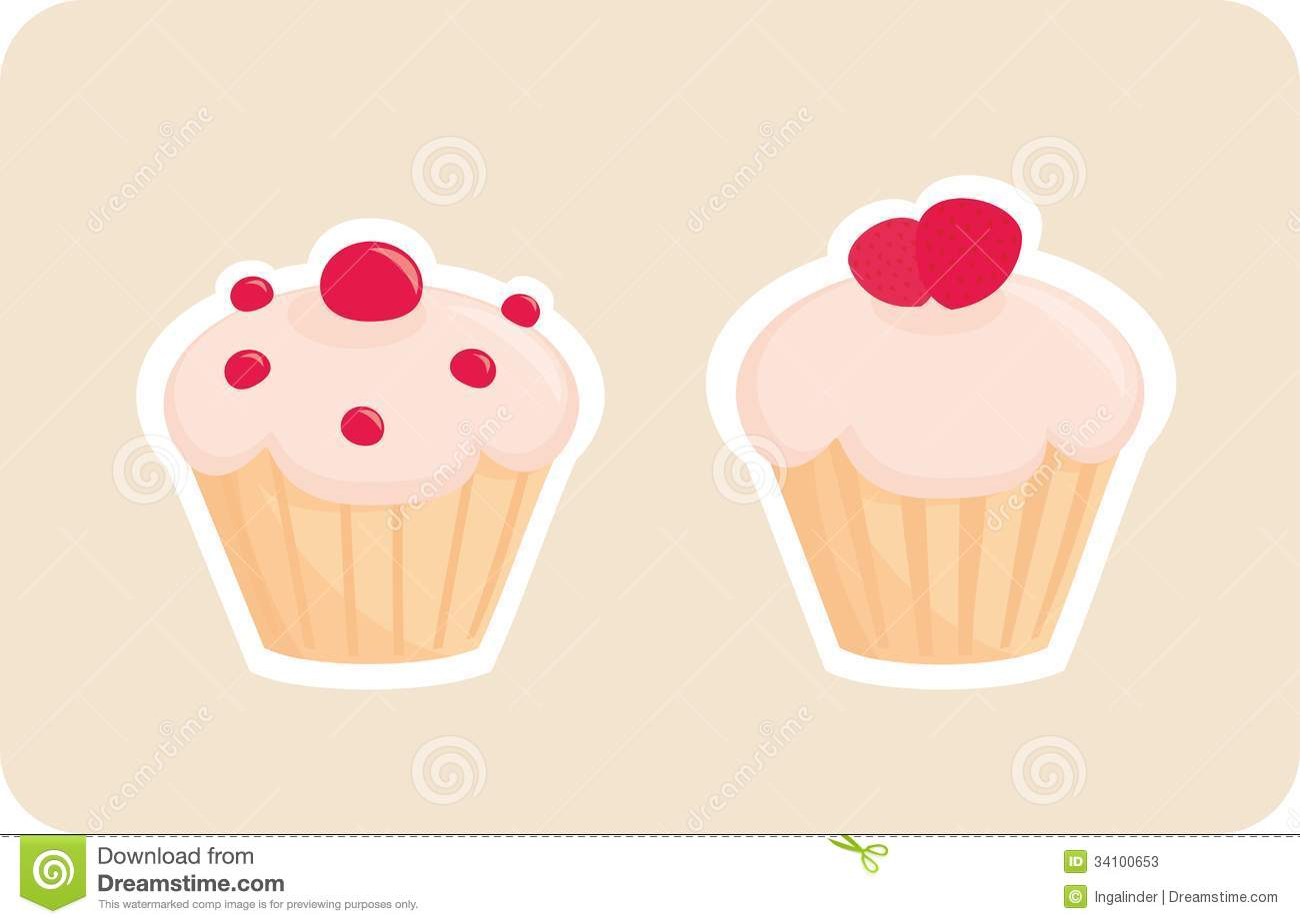 Vector Cupcakes Silhouettes With Red Strawberry On Stock Vector
