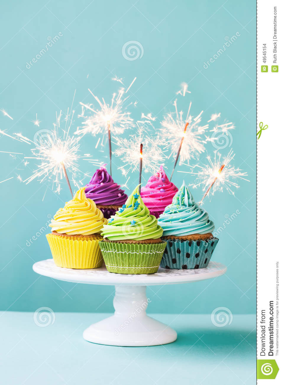 Cupcakes With Sparklers Stock Photo Image Of Plate