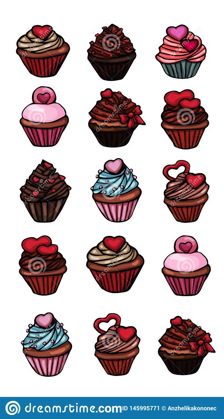 Cupcakes stickers set of different delicious