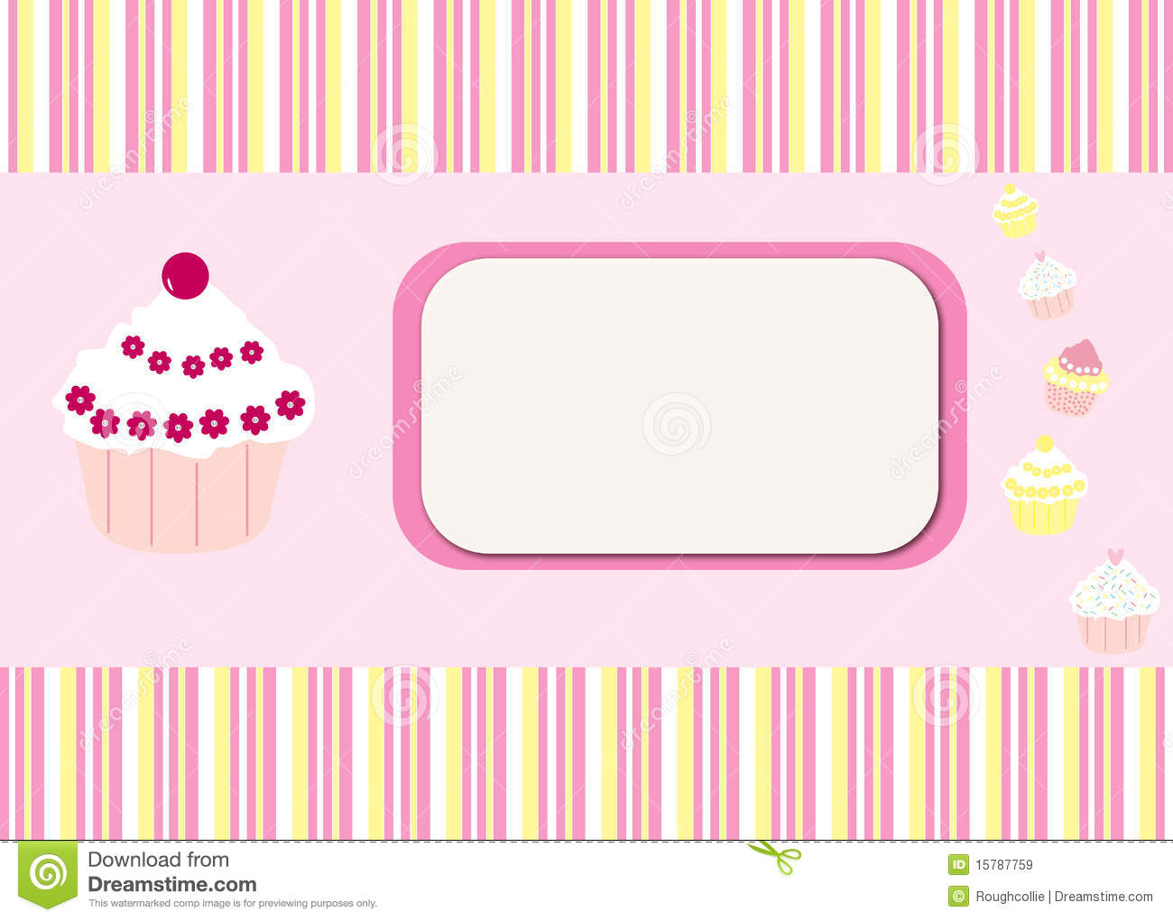 Cupcakes Stripes Card Background Stock Illustration