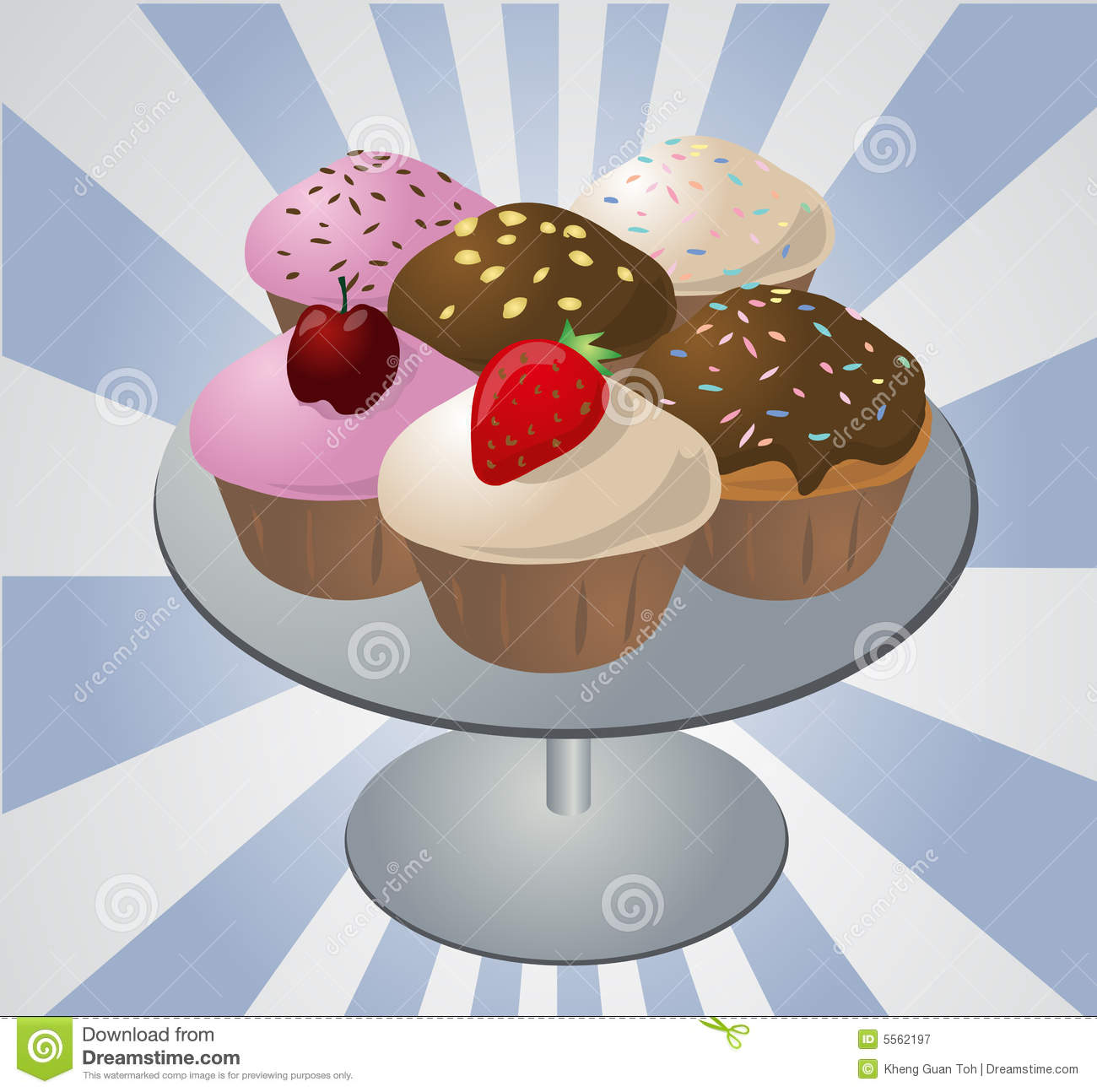 Cupcakes On Tray Stock Vector Illustration Of Cakes