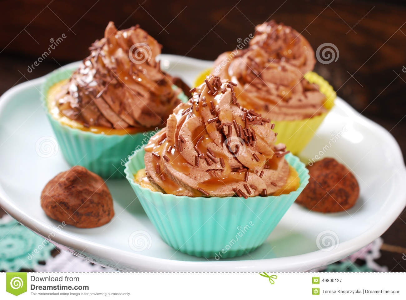 Cupcakes With Truffle Cream And Caramel Stock Photo - Image: 49800127