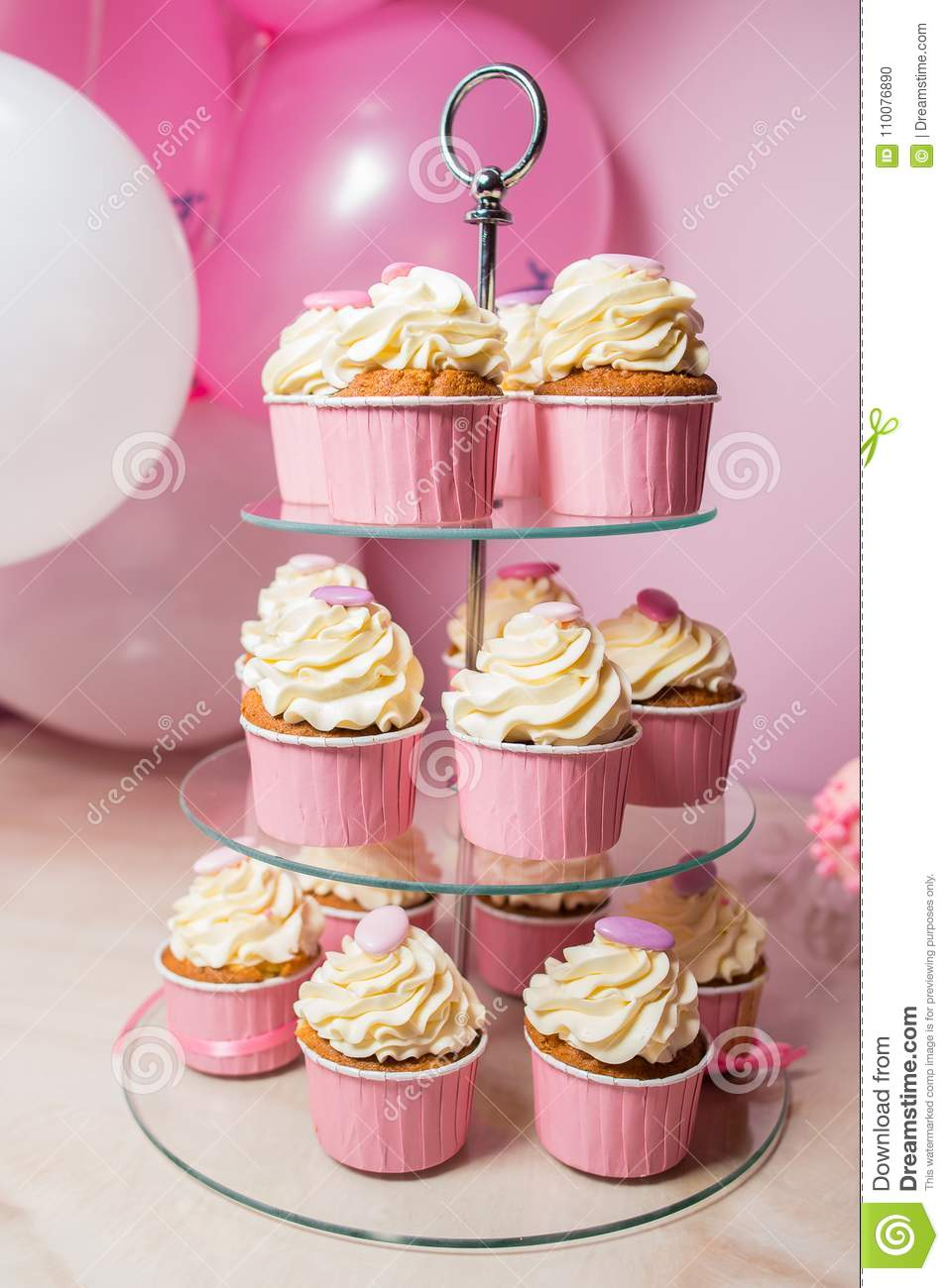 Cupcakes With Vanilla Cream On A Stand Stock Photo Image Of