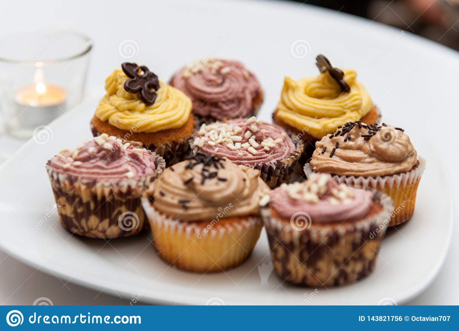 Cupcakes on white porcelain plate