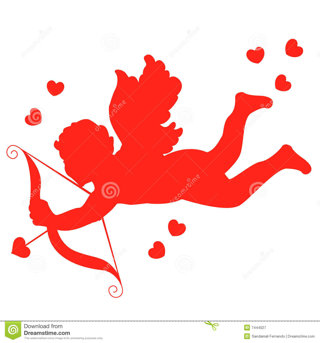 Cupid with bow and arrow illustration with red hearts.
