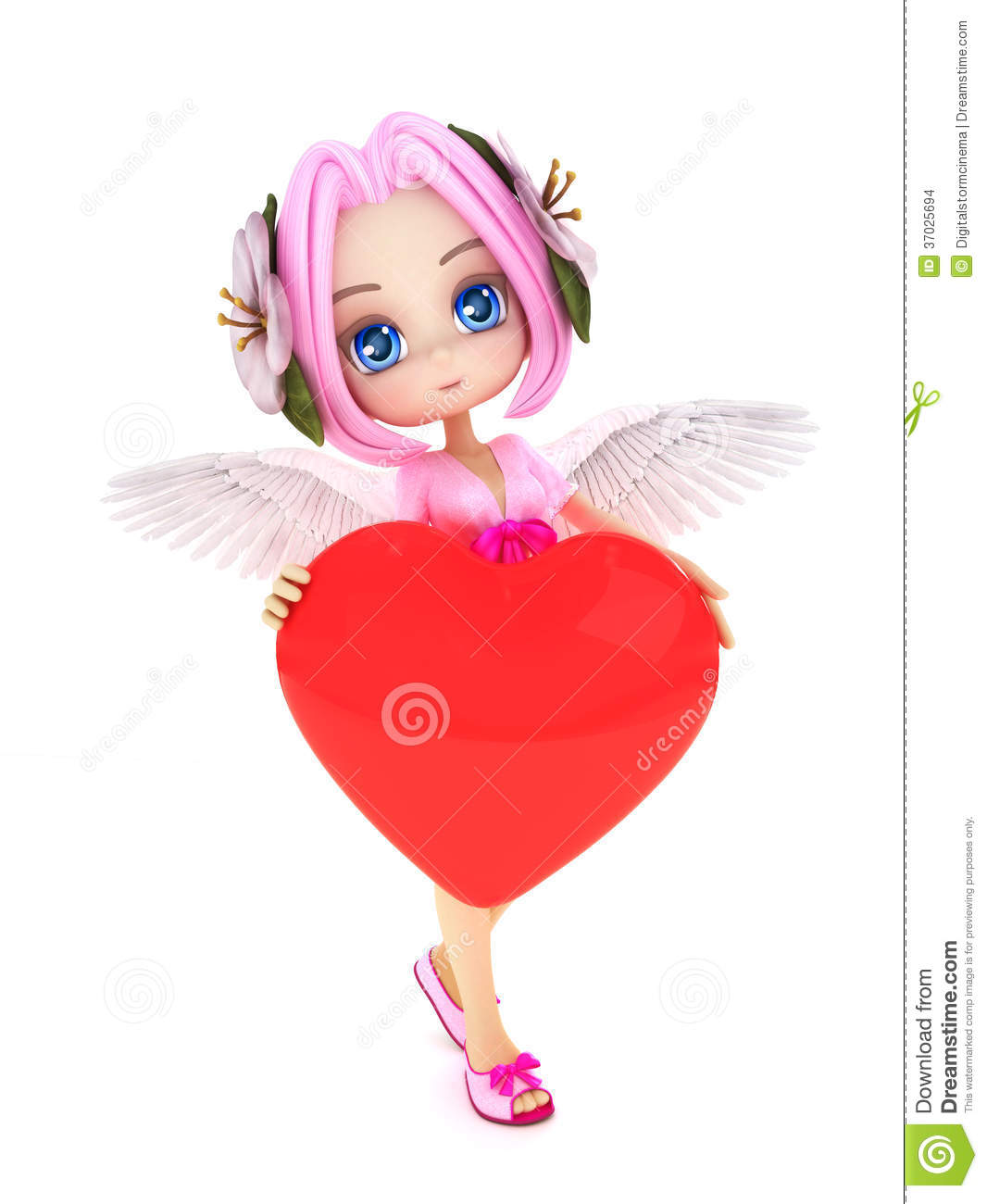 Cupid anime with wings and a heart