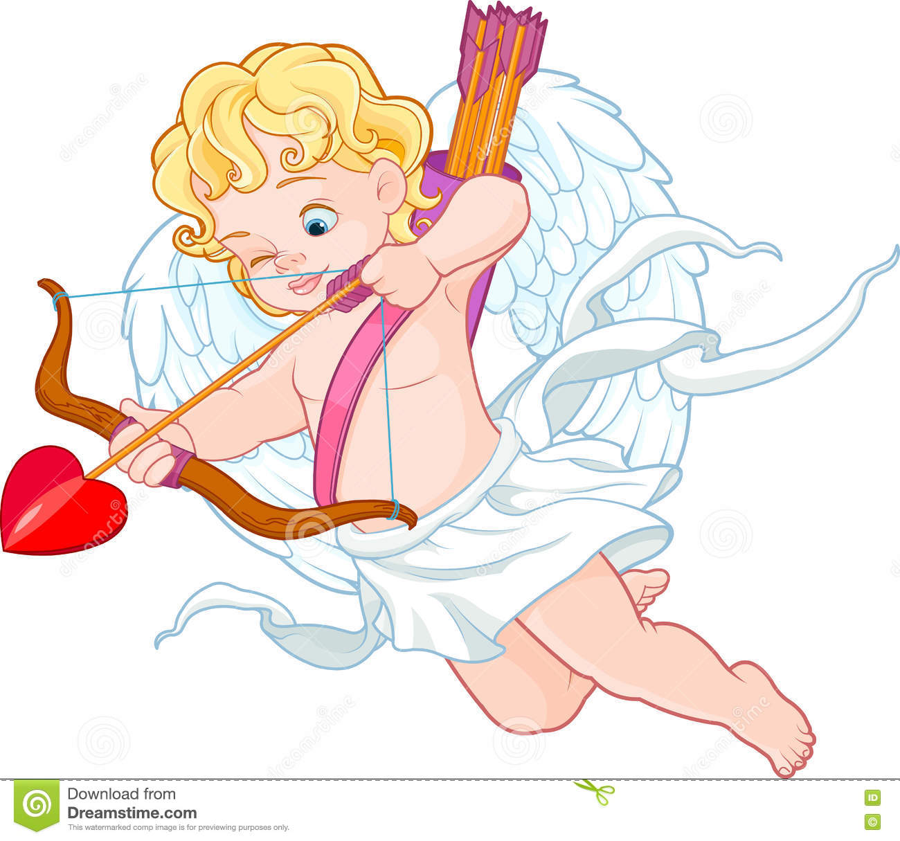 Cupid With Bow And Arrow Aiming At Someone Stock Vector