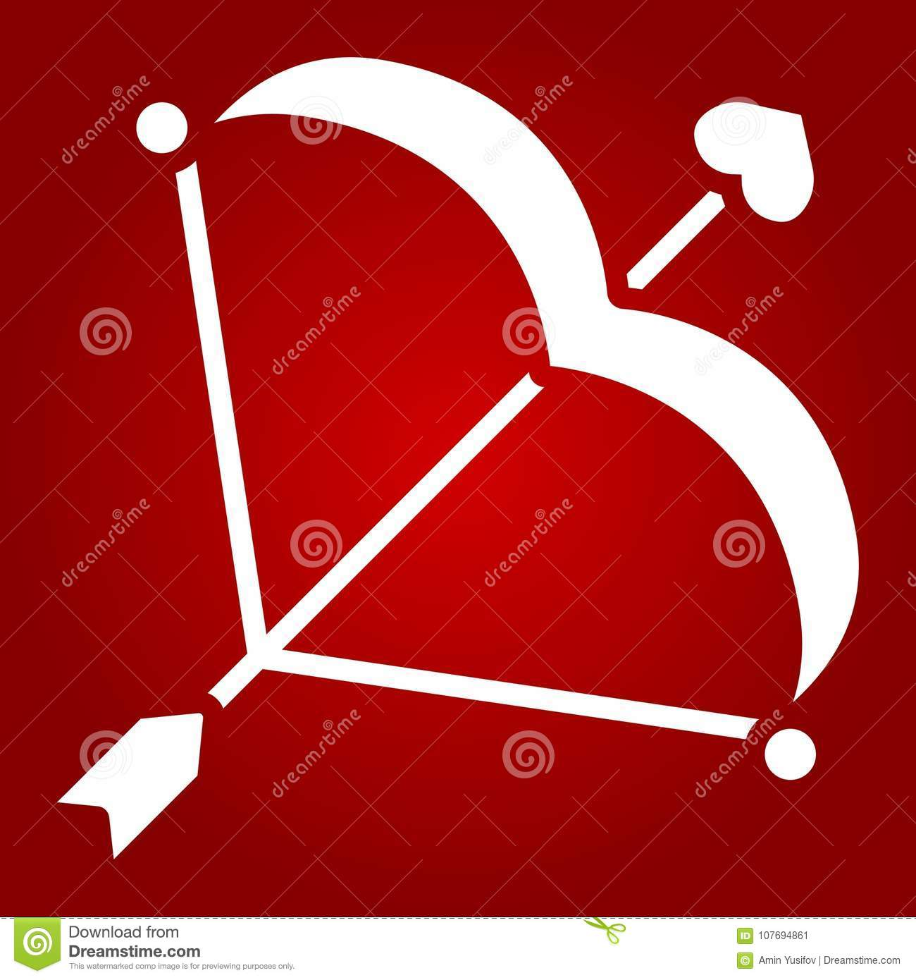 Cupid Bow With Arrow Glyph Icon Valentines Day Stock Vector