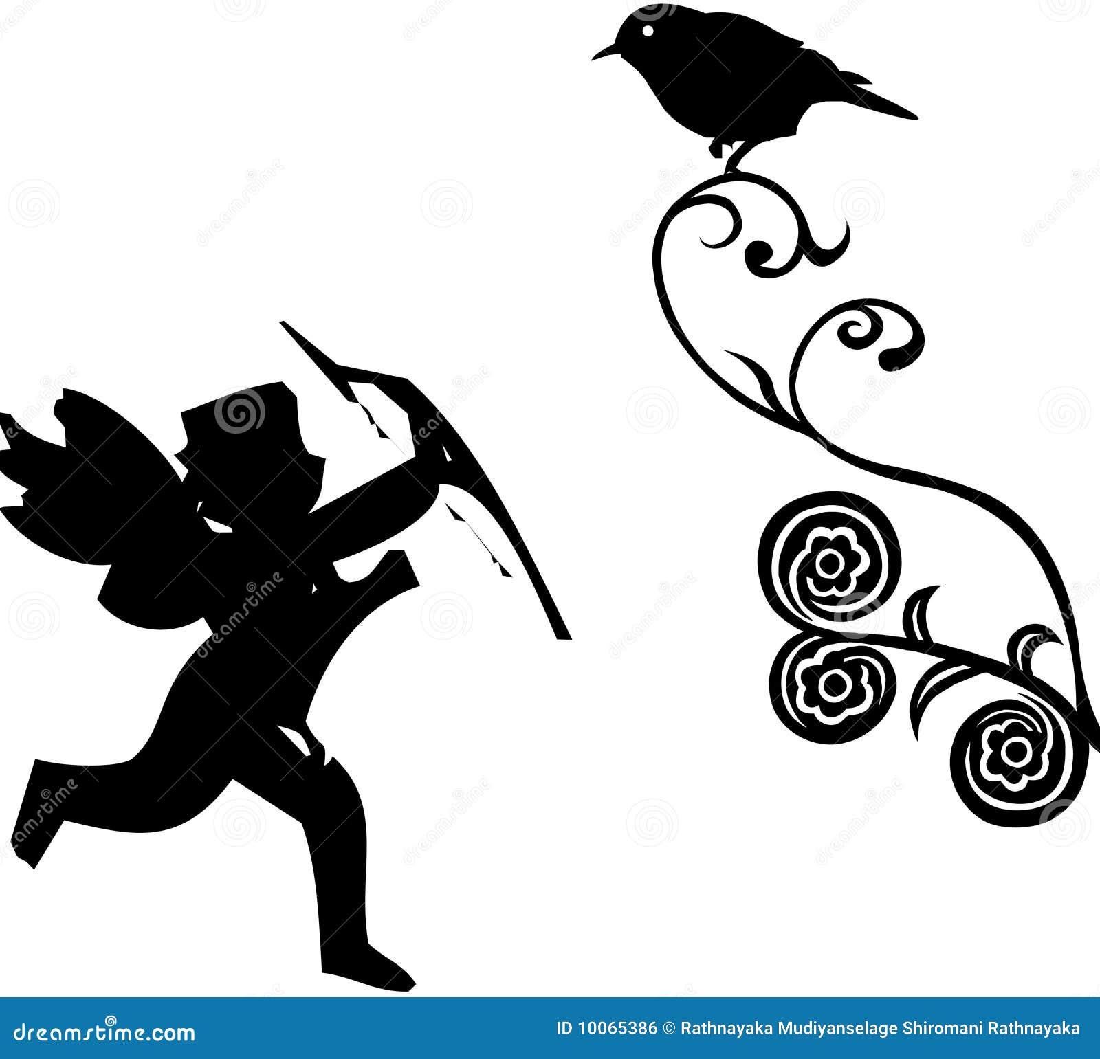 Cupid com pássaro