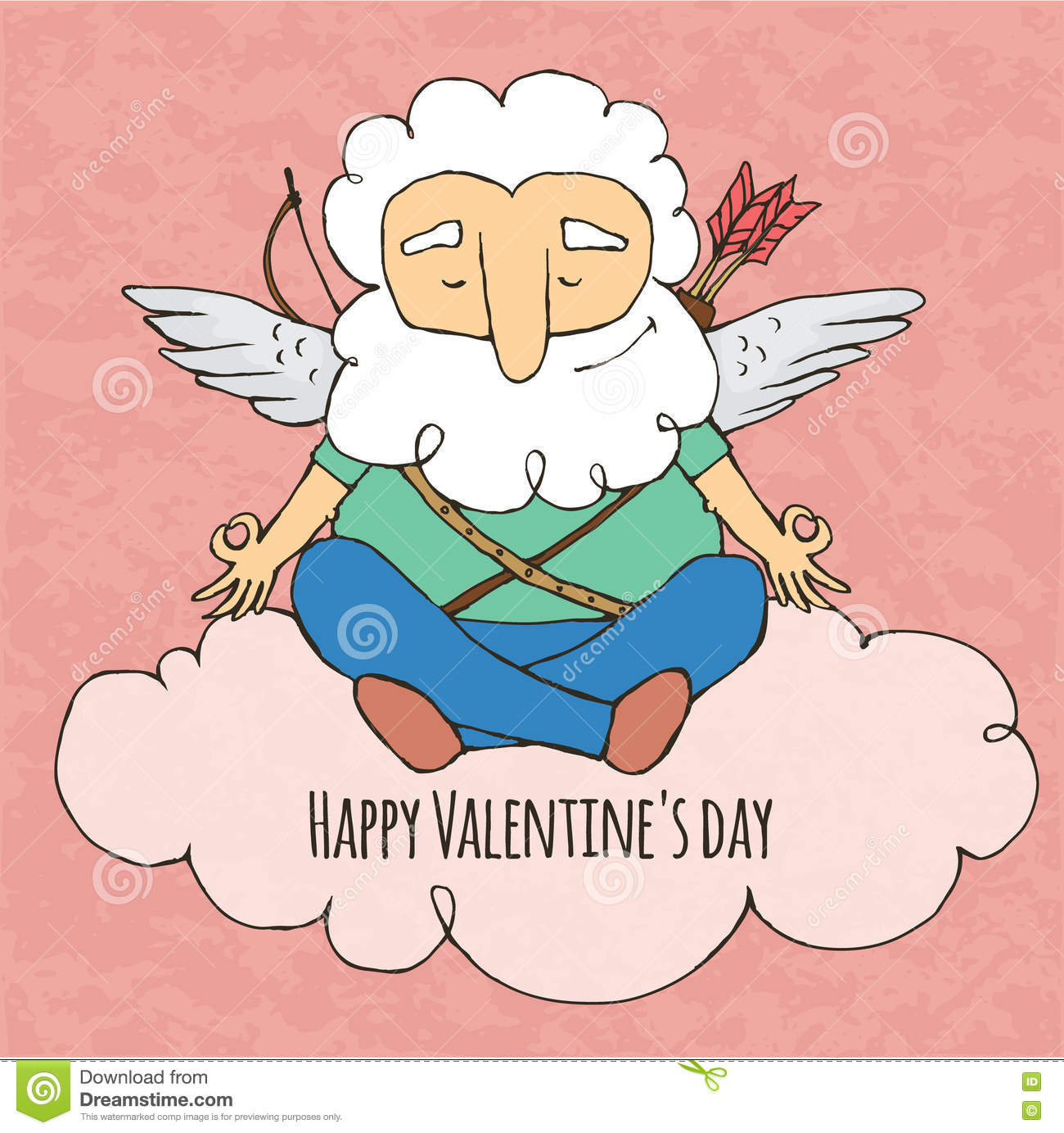 Cupid Funny Yogi Sitting In Yoga Posture Valentine S Day Stock