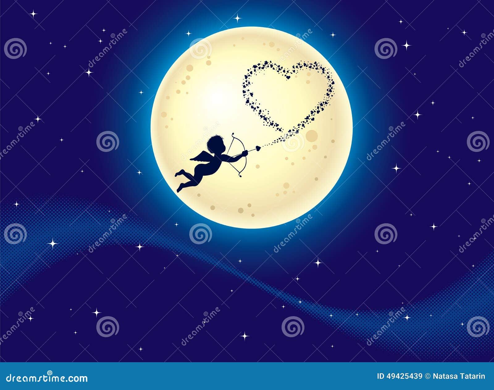cupid shooting hearts at moonlight stock vector Bear Silhouette Vector Football Silhouette Vector