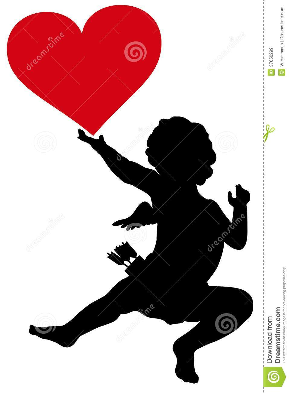 cupid silhouette stock vector  illustration of amoure