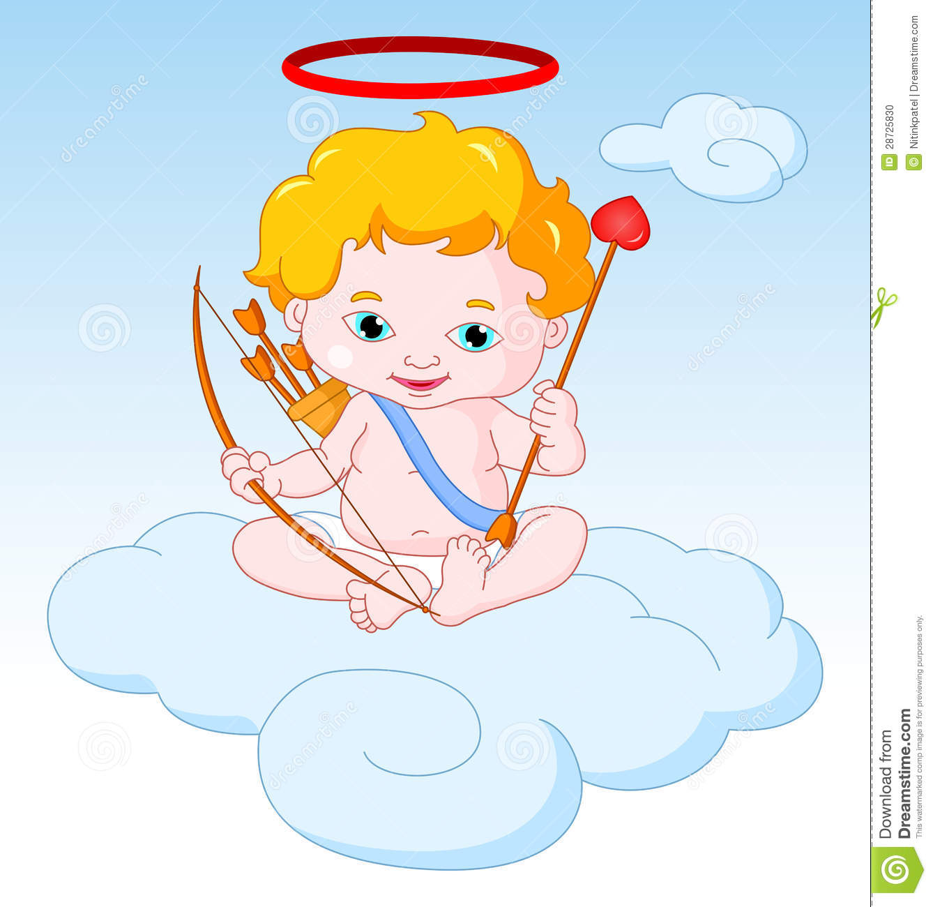 Cupid Sitting On The Cloud With Bow And Arrow Stock Photo - Image ...