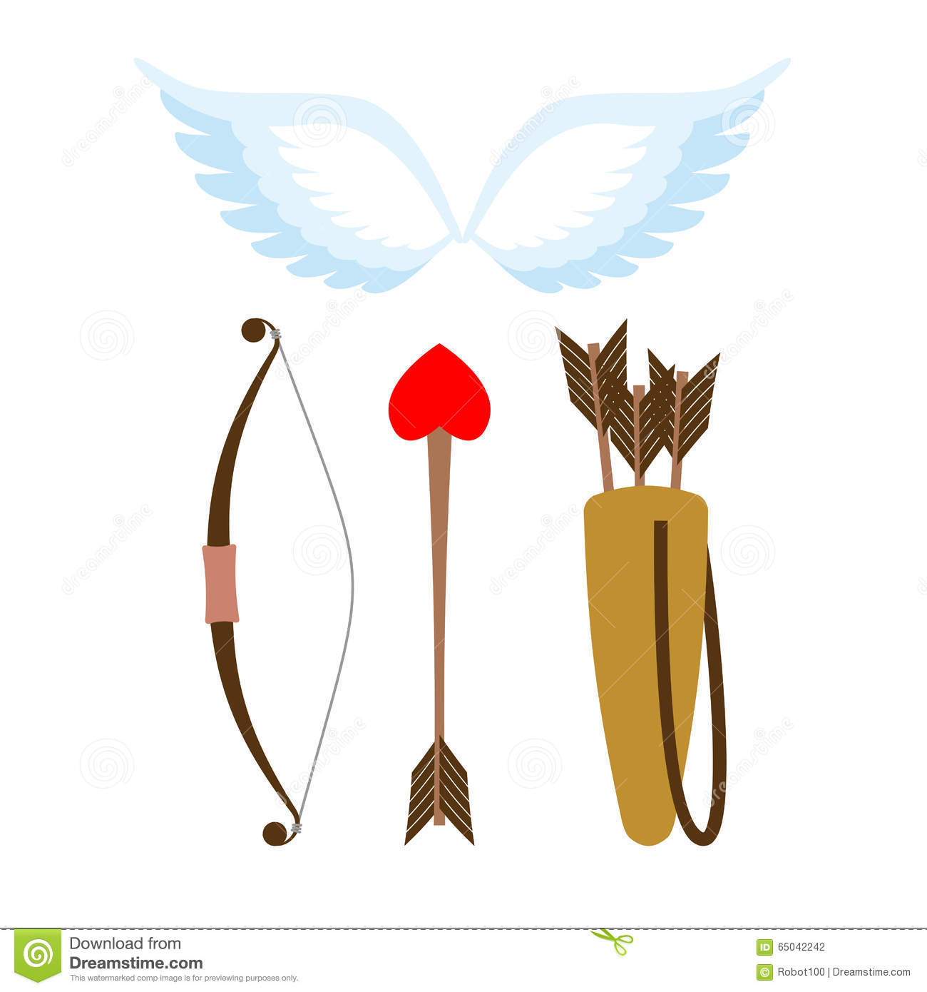 Cupid Weapons Set . Bow And Arrow With Heart. Quiver With ...