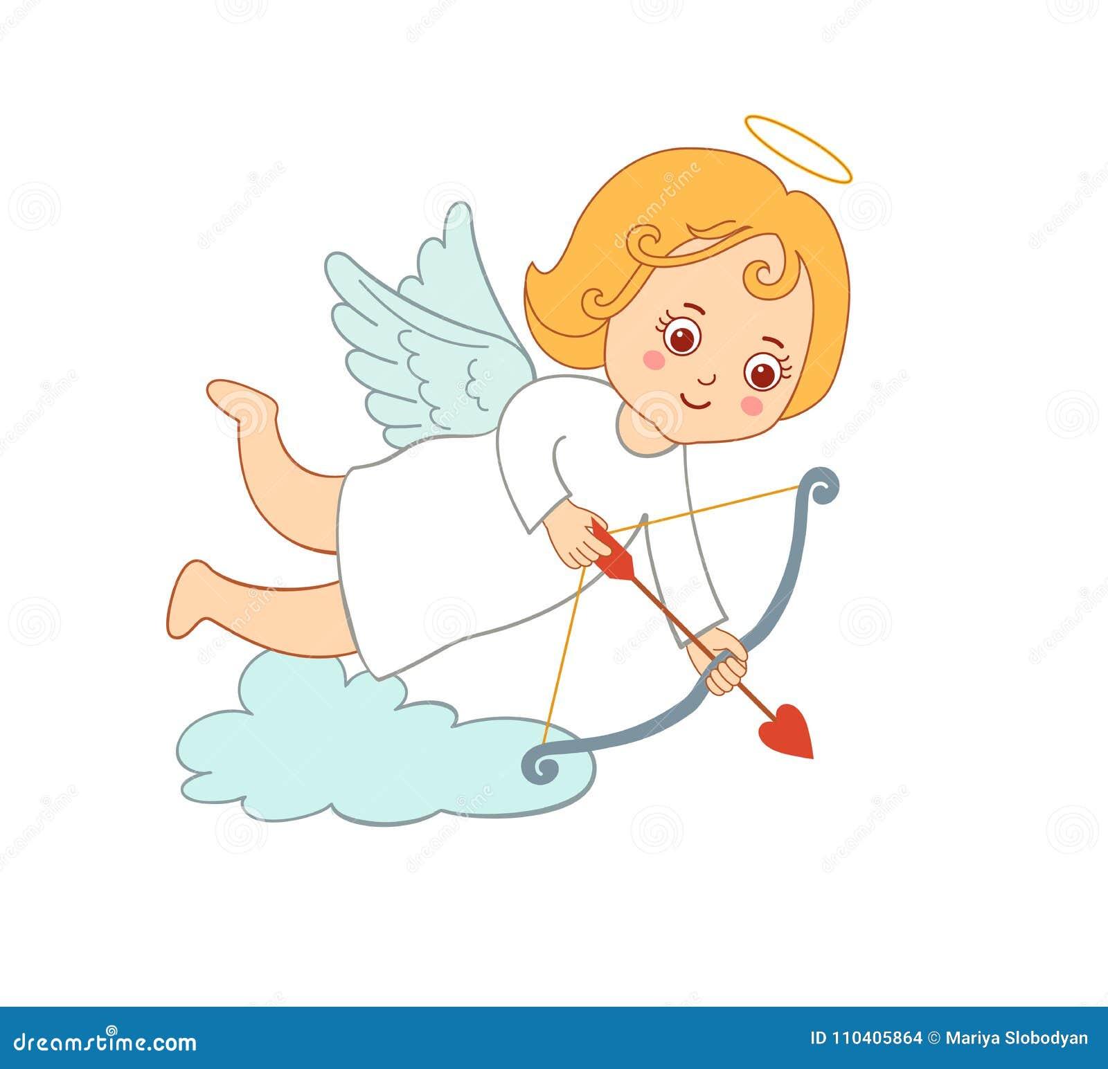 Cupido bonito dos desenhos animados do desenho para o dia do ` s do Valentim