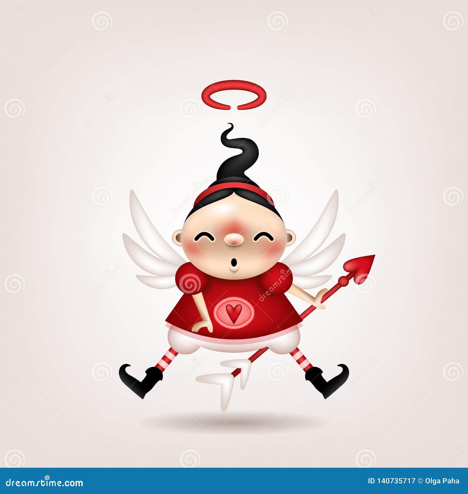 Cupido della ragazza castana
