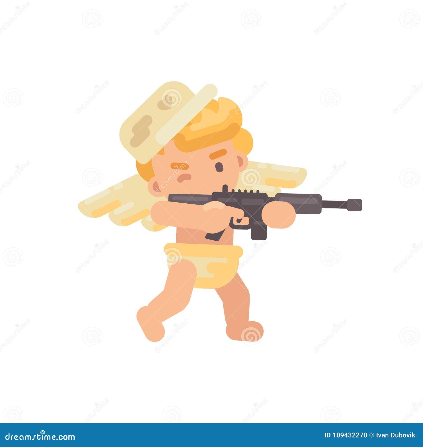 Cupido lindo en un casquillo militar que tira un rifle Icono del día de tarjeta del día de San Valentín