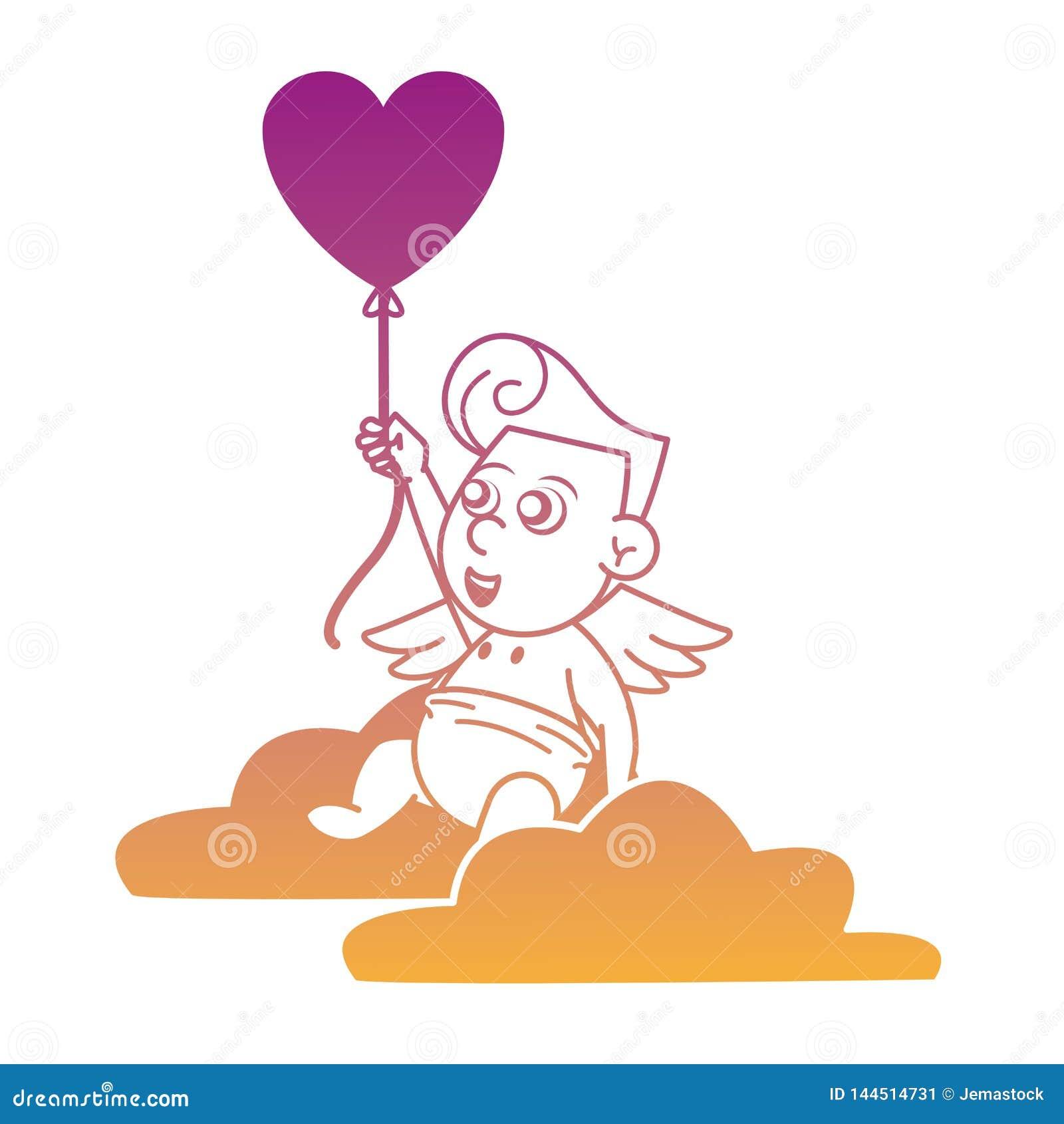 Cupido op wolk met de hart gestalte gegeven lijnen van de ballonregenboog