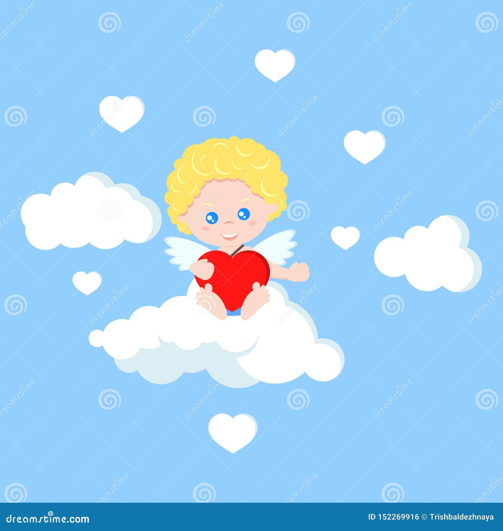 Cupido sveglio isolato vettore nello stile piano del fumetto