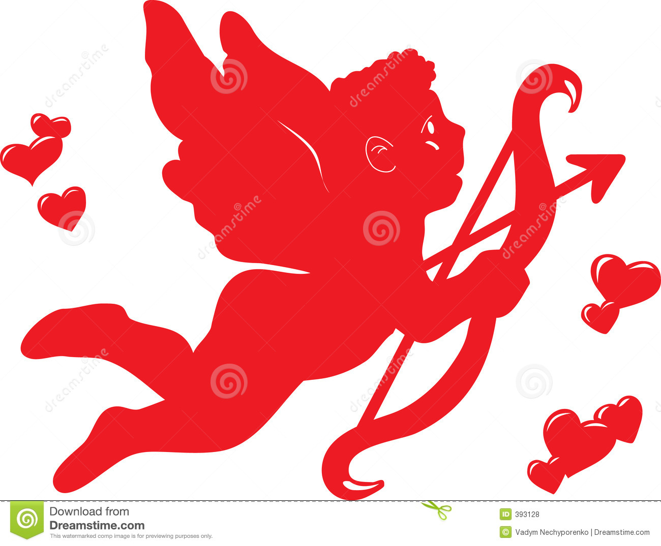 Cupidon, angel whith arrow, heart shapes, Illustrator artwork.