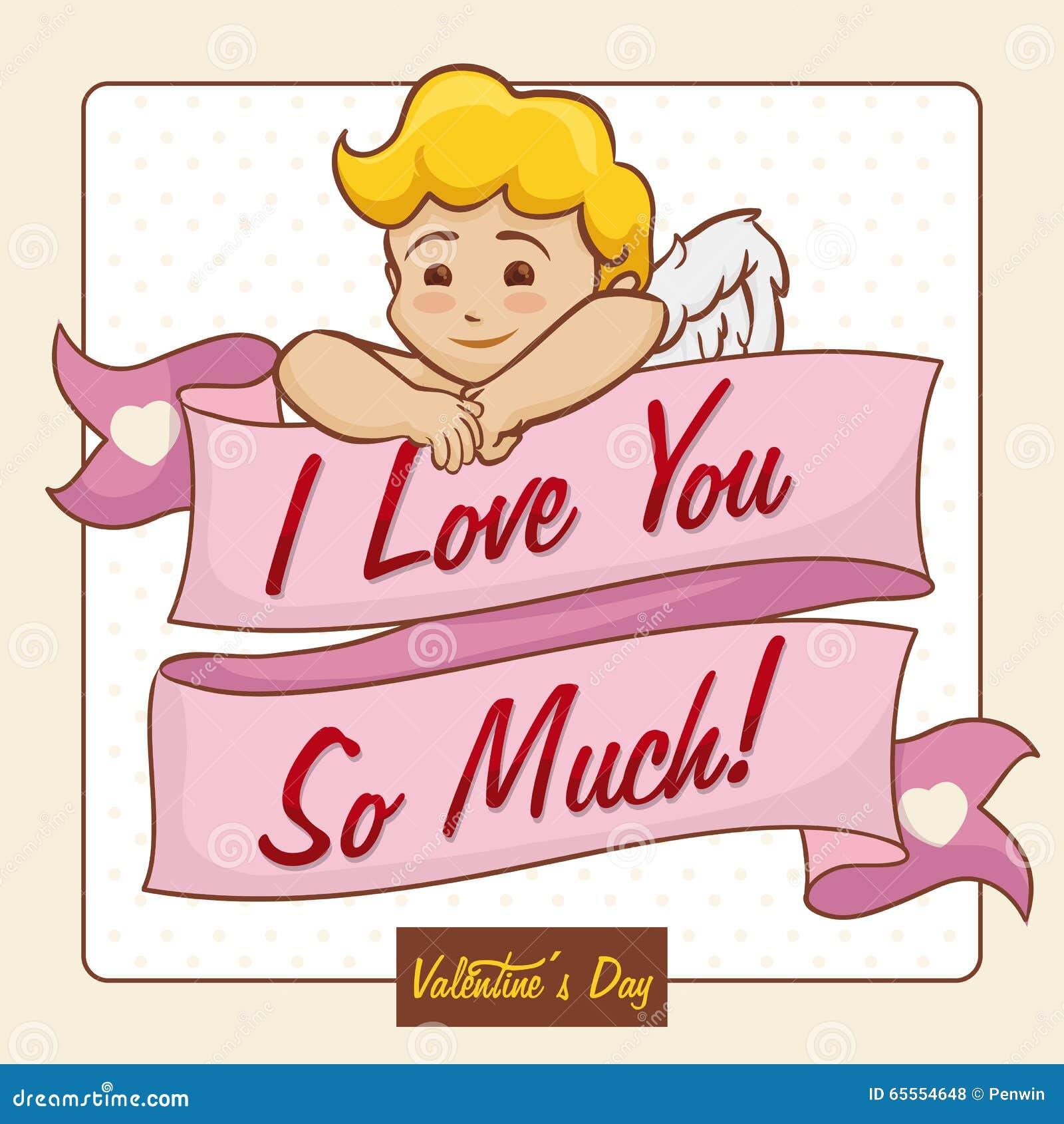 Cupidon Dune Chevelure Blond Avec Un Long Message De Ruban