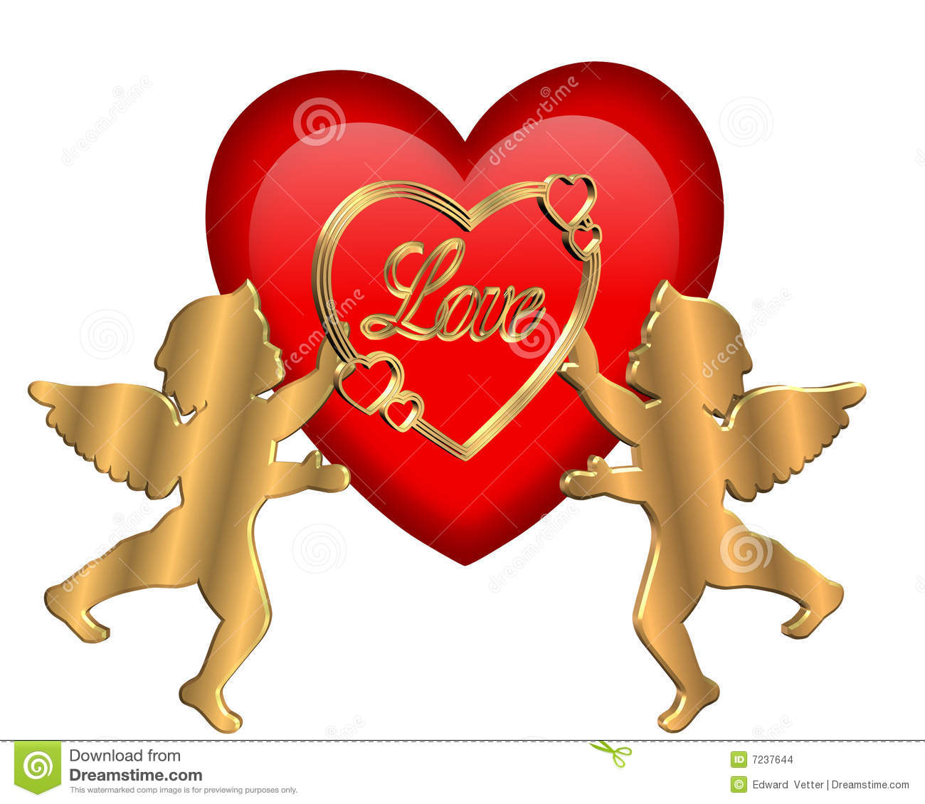 Cupids Heart Valentine Isolated Stock Illustration - Image ...