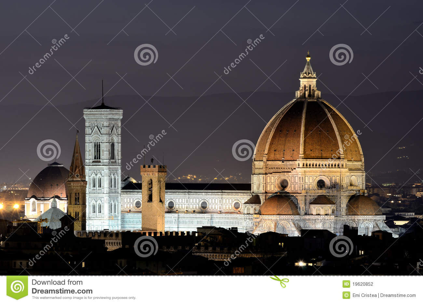 Cupola di Firenze, vista di notte, Toscana