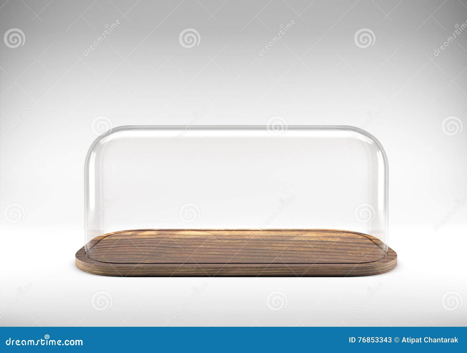 Vassoi In Legno Con Vetro : Cupola di vetro con il vassoio di legno immagine stock immagine