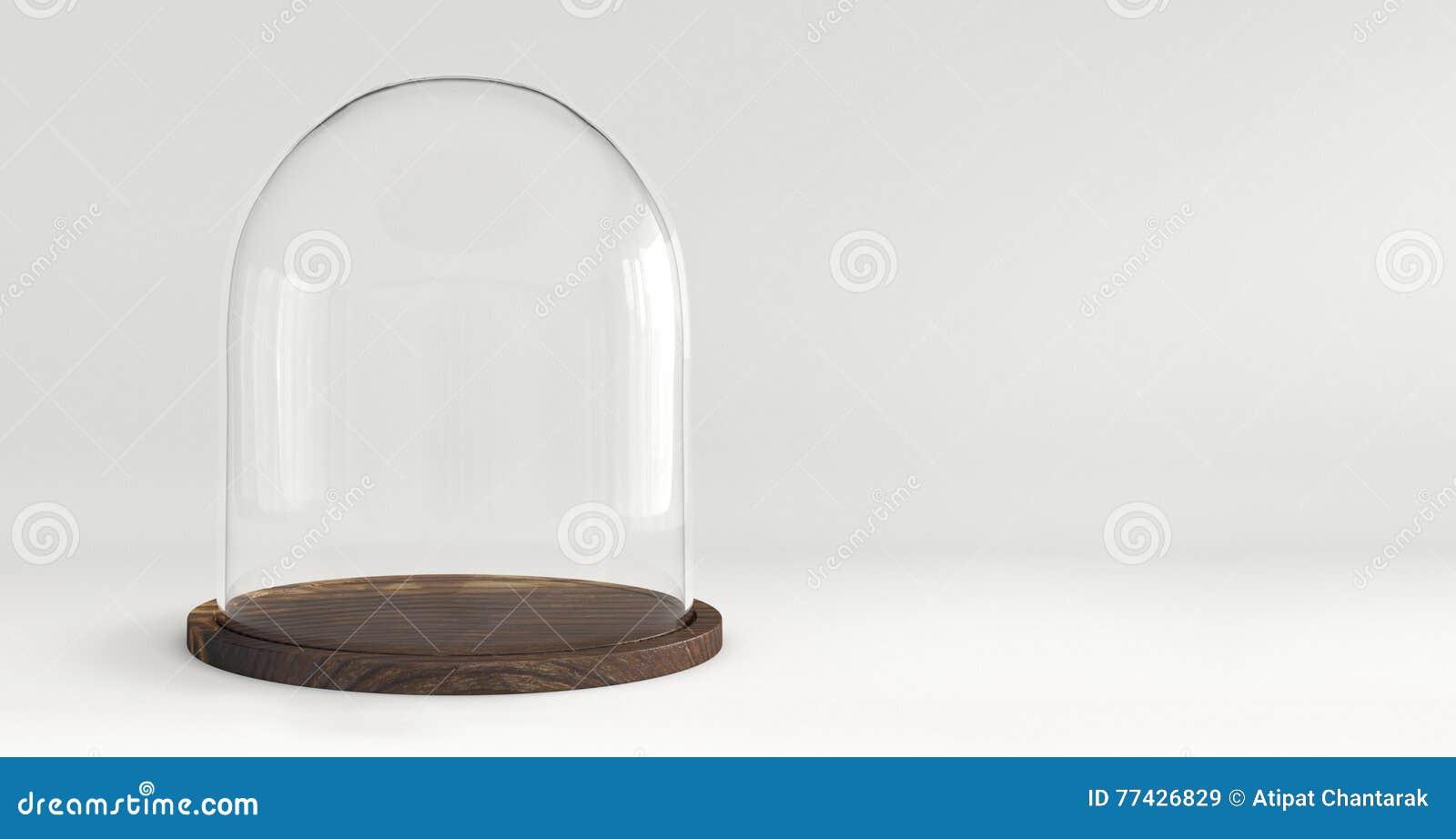 Vassoi In Legno Con Vetro : Cupola di vetro con il vassoio di legno su fondo bianco immagine