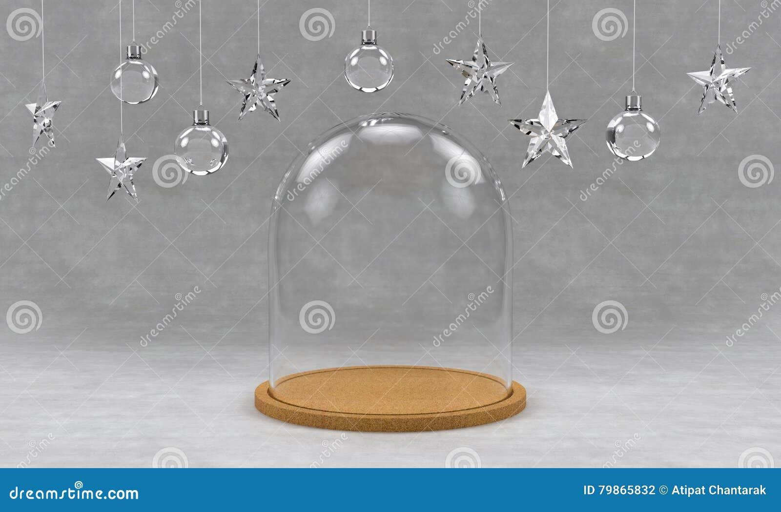 Vassoi In Legno Con Vetro : Cupola di vetro con il vassoio di legno su fondo concreto