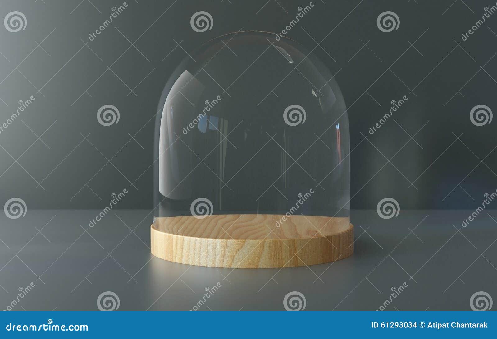 Vassoi In Legno Con Vetro : Cupola di vetro con il vassoio di legno su fondo scuro fotografia