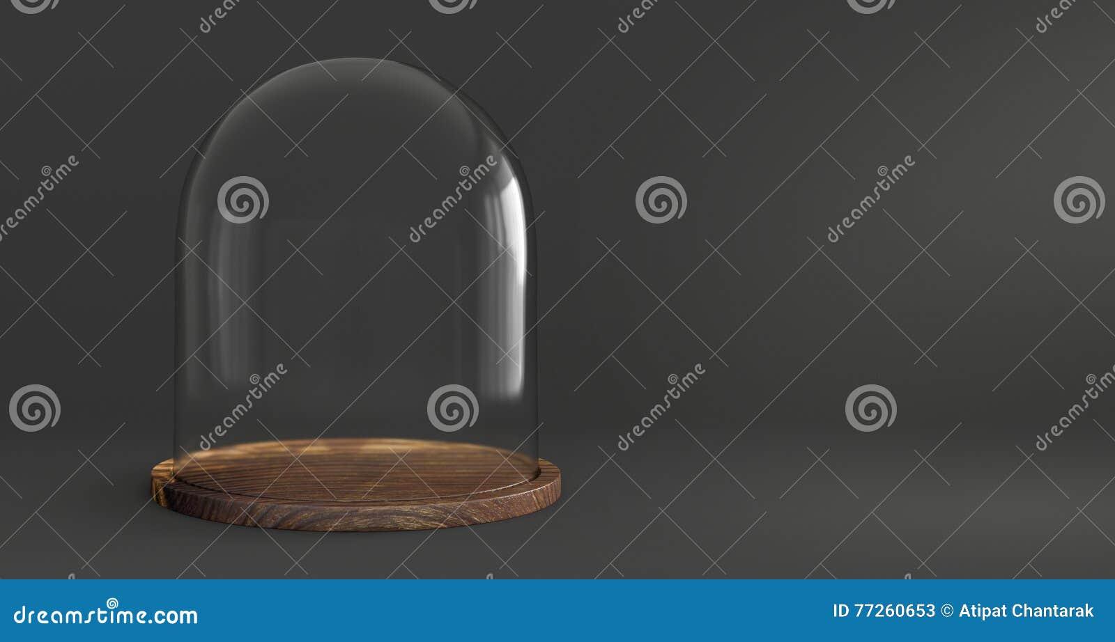 Vassoi In Legno Con Vetro : Cupola di vetro con il vassoio di legno su fondo scuro immagine