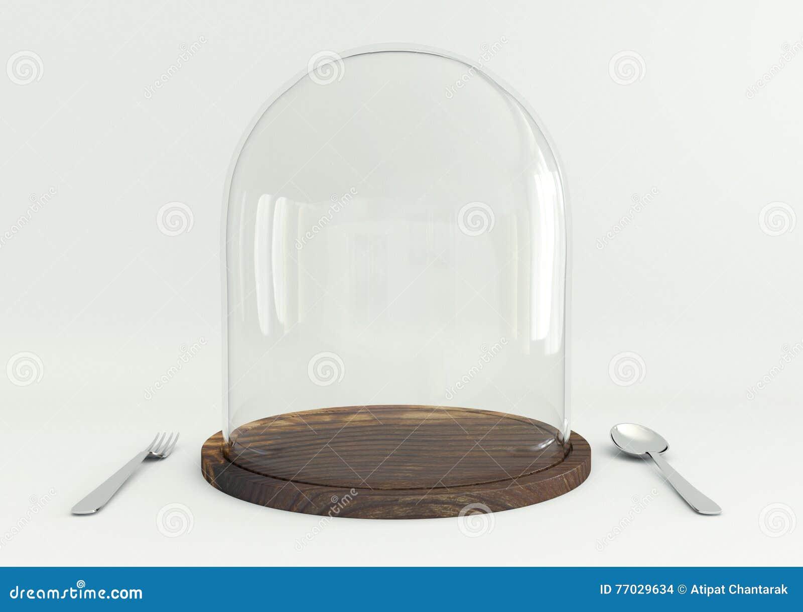Vassoi In Legno Con Vetro : Cupola di vetro sul vassoio di legno fotografia stock immagine