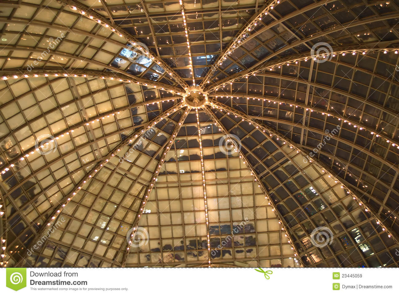 Cupola Of Retro Glass House Roof Inside View Stock Image